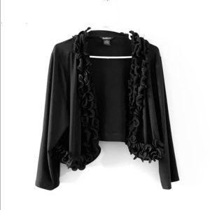 Black ruffle collar dress cardigan